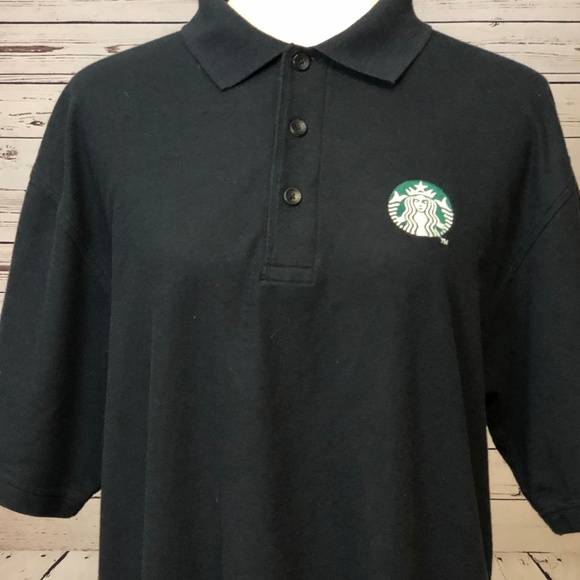 Starbucks Other - Starbucks Coffee Polo Shirt Large Black Short S/S